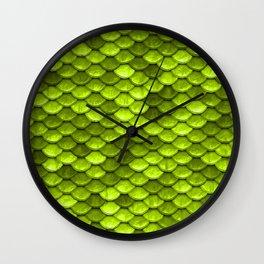 Beautiful Key Lime green mermaid fish Scales Wall Clock