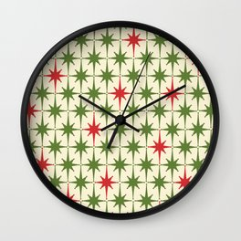 Christmas Starbursts - Atomic Age Xmas Holiday Pattern in Red and Retro Green on Cream Wall Clock