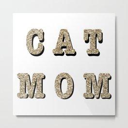 Cat mom (gold) Metal Print