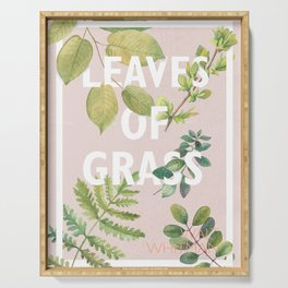 Leaves of Grass, Walt Whitman, book cover illustration, american poetry collection, flowers art Serving Tray