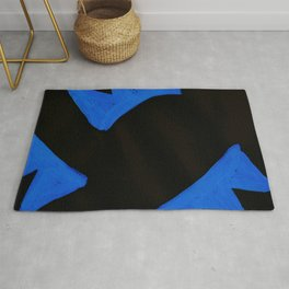 The Crown of Basquiat, Abstract, Electric Blue Rug