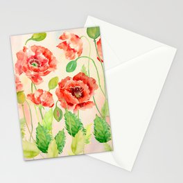 Watercolor Red Oriental Poppies Stationery Cards