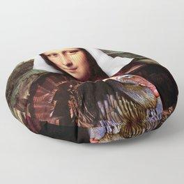 Mona Lisa Thanksgiving Pilgrim Floor Pillow