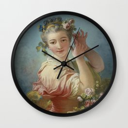 "Jean-Honoré Fragonard ""A Young Woman Adorning Her Powdered Coiffure With a Spray of Roses"" Wall Clock"