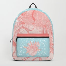 Anatomy heart and lily flowers on blue background Backpack