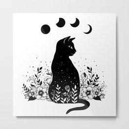Night Garden Cat Metal Print