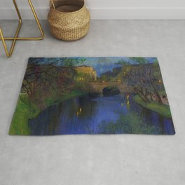 Twilight in Riga, Latvia by Nikolay Bogdanov-Belsky Rug