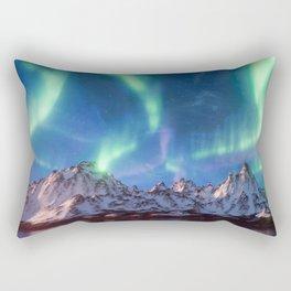 Aurora Borealis with Snow Rectangular Pillow