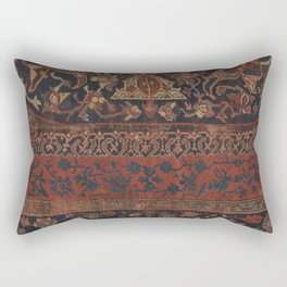 Boho Chic Dark III // 17th Century Colorful Medallion Red Blue Green Brown Ornate Accent Rug Pattern Rectangular Pillow