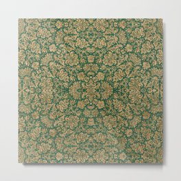 Antique Gold and Green Brocade Pattern Metal Print