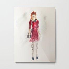 Red Dress Girl Metal Print