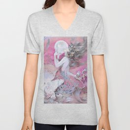 Mermaid With Pearl Pink Unisex V-Neck