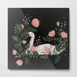 White swan botanical illustration  Metal Print