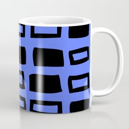Mid Century Modern Abstract Squares Pattern 542 Black and Blue Coffee Mug