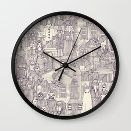 vintage halloween purple ivory Wall Clock