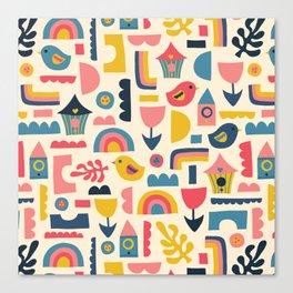 Scandinavian Birds Flowers Rainbows Kids Pattern Canvas Print