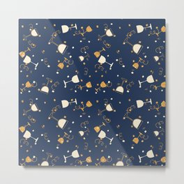 Chic navy blue faux gold glitter party time Metal Print