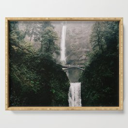 Multnomah Falls Waterfall in October - Landscape Photography Serving Tray