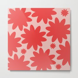 60s 70s Hippie Flowers Red Metal Print