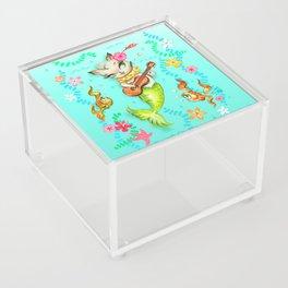 Mermaid Cat with Ukulele Acrylic Box