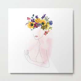 Mimimal Line Art Drawing Woman With Watercolor Summer Flowers Wreath Metal Print