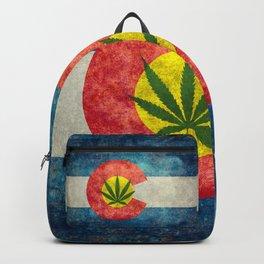Colorado flag with leaf - Marijuana leaf that is! Backpack