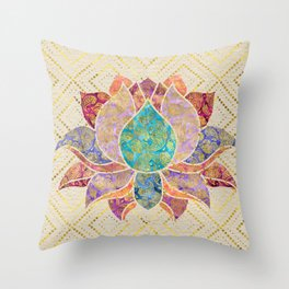 Watercolor & Gold paisley decorated lotus Throw Pillow