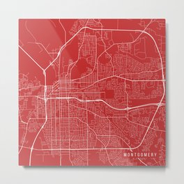 Montgomery Map, USA - Red Metal Print