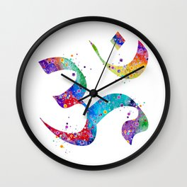Om Art Aum Symbol Colorful Watercolor Gift Peace Art Spiritual Symbol Gift Hinduism Art Wall Clock