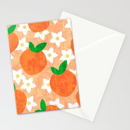 Tropical exotic oranges and white pretty orange blossoms fruity floral summer bright sunny light pastel peach color pattern design. Stationery Cards