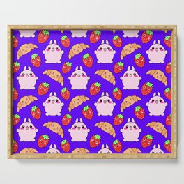 Cute happy funny pink baby bunnies, sweet adorable yummy Kawaii croissants and red ripe summer strawberries cartoon blue pattern design Serving Tray