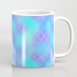 Cyan Blue and Violet Mermaid Tail Abstraction. Magic Fish Scale Pattern Coffee Mug