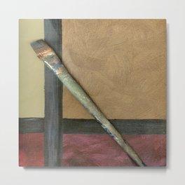 Artist Brush On Abstract Copper Canvas Artwork - Vintage - Modern Art - Corbin Henry Metal Print