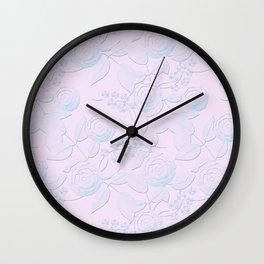 Delicate light blue roses on light pink background. Wall Clock