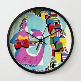 Retro naive cubist Italian beaches, mermaid travel ad Wall Clock