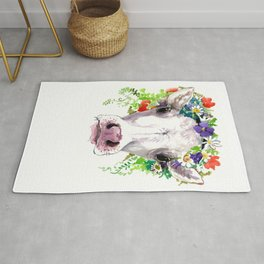 Cow and Flowers, Cow head floral Farm cattle head famr animals Rug
