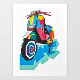 Scooter Vespa Poppart Art Print