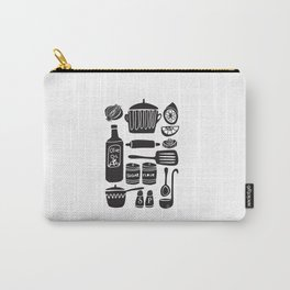 Kitchen Utensils in Black and White Carry-All Pouch