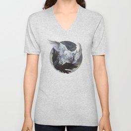 Yin Yang Owl and Raven Unisex V-Neck