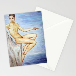 The Angler, Nude composition of a Young Man by the Baltic Sea portrait painting by Nils Dardel Stationery Cards
