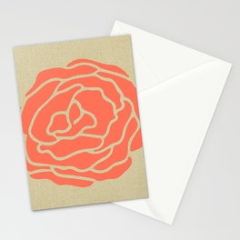 Rose Deep Coral on Linen Stationery Cards