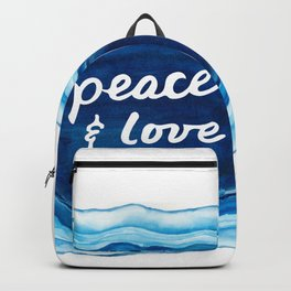 Peace and Love Blue Geode Backpack