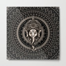 Lord Ganesha - Sepia Black Metal Print
