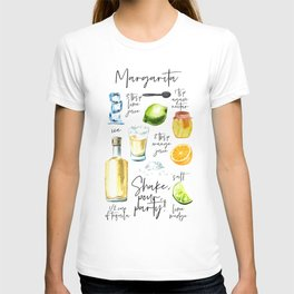 Margarita Recipe Watercolor Illustration T-shirt