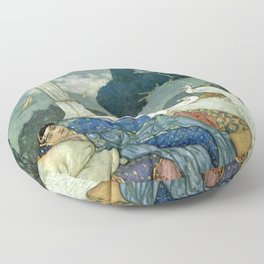 Princess Lady Yang at Midnight with white Peacocks portrait painting by Edmund Dulac Floor Pillow
