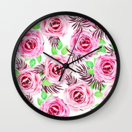 Pink Roses Pattern  Wall Clock