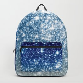 Galaxy Sparkle Stars Deep Blue Silver Ombre Backpack