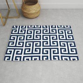 Dark Navy Blue and White Greek Key Pattern Rug