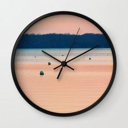 Pink sunset on Severn River, MD   Minimalist landscape photography Wall Clock