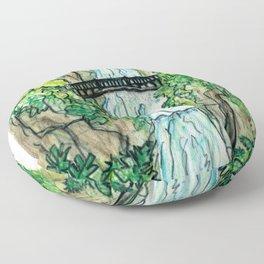 Multnomah Falls Oregon Travel Poster Floor Pillow